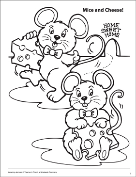 Mice and Cheese! Amazing Animals Coloring Page - Printable Worksheet