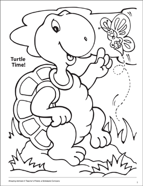 Turtle Time! Amazing Animals Coloring Page - Printable Worksheet