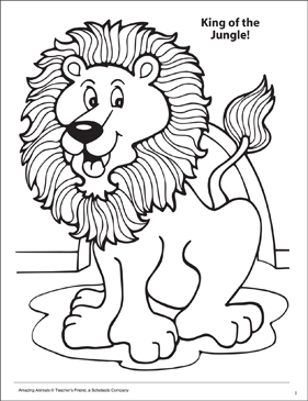 King of the Jungle! Amazing Animals Coloring Page - Printable Worksheet