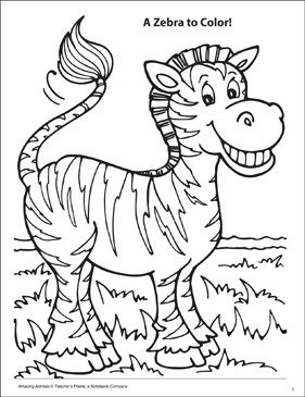 a zebra to color amazing animals coloring page