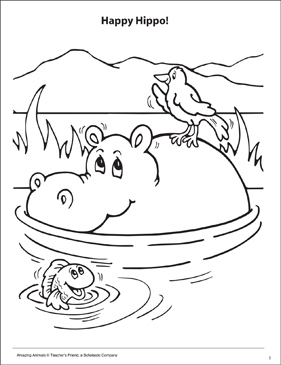 Happy Hippo! Amazing Animals Coloring Page - Printable Worksheet