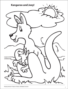 Kangaroo And Joey Amazing Animals Coloring Page