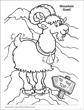 Mountain Goat! Amazing Animals Coloring Page - Printable Worksheet
