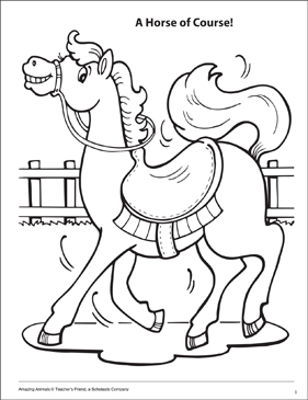 A Horse of Course Amazing Animals Coloring Page - Printable Worksheet