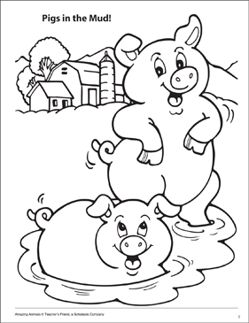 Pigs in the Mud Amazing Animals Coloring Page Printable
