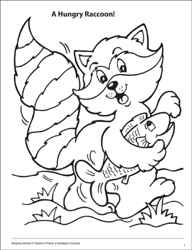 A Hungry Raccoon Amazing Animals Coloring Page - Printable Worksheet