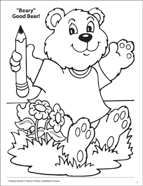 Beary Good Bear! Amazing Animals Coloring Page - Printable Worksheet