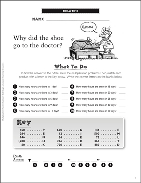 Time (Hours): Multiplication Practice Puzzle - Printable Worksheet