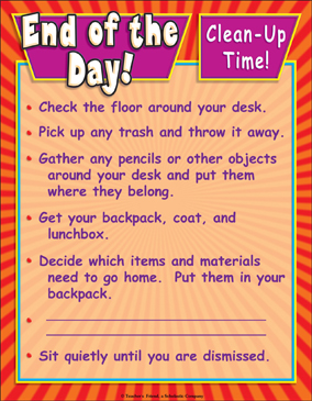 End of the Day...Clean-Up Time! Color Chart - Printable Worksheet