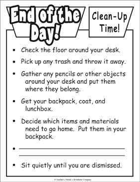 End of the Day...Clean-Up Time! Chart - Printable Worksheet