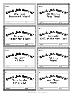 Good Job Awards! - Printable Worksheet