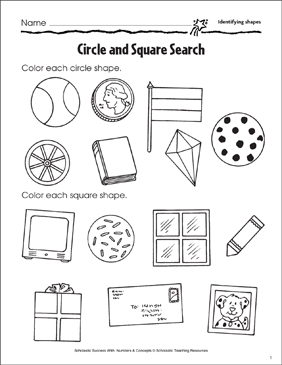 Circle and Square Search (Identifying Shapes) - Printable Worksheet