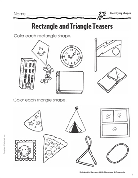 Rectangle and Triangle Teasers (Identifying Shapes) - Printable Worksheet