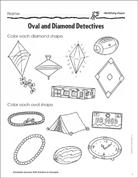 Oval and Diamond Detectives (Identifying Shapes) - Printable Worksheet