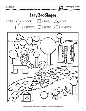 Zany Zoo Shapes (Identifying Shapes) - Printable Worksheet