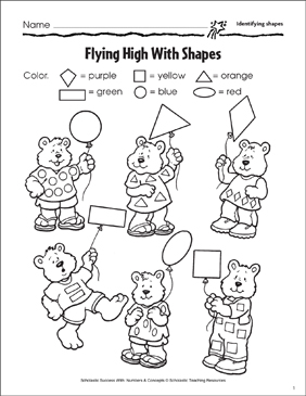 Flying High With Shapes (Identifying Shapes) - Printable Worksheet