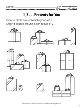 1, 2...Presents for You (Identifying 1-20 Objects) - Printable Worksheet