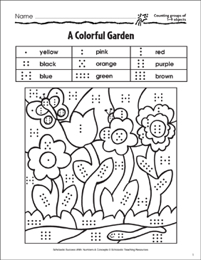 A Colorful Garden (Counting 1-9 Objects) - Printable Worksheet