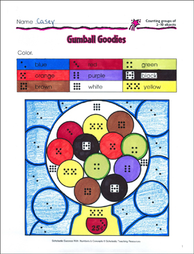 Gumball Goodies (Counting 2-10 Objects) - Printable Worksheet