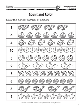 Count and Color (Counting Groups of 1-10 Objects) - Printable Worksheet