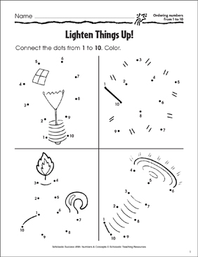 Lighten Things Up (Ordering Numbers from 1 to 10) - Printable Worksheet