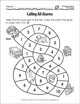 Calling All Alarms (Ordering Numbers from 1 to 10) - Printable Worksheet