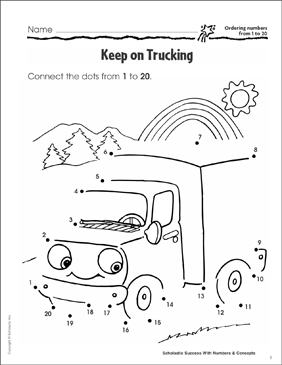 Keep on Trucking (Ordering Numbers from 1 to 20) - Printable Worksheet