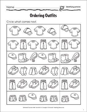 Ordering Outfits (Identifying Patterns) - Printable Worksheet