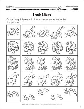 Look Alikes (Identifying Equal Groups) - Printable Worksheet