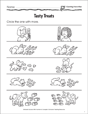 Tasty Treats (Counting More Than/Less Than) - Printable Worksheet