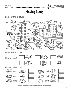 Moving Along (Solving Problems Using Pictures) - Printable Worksheet