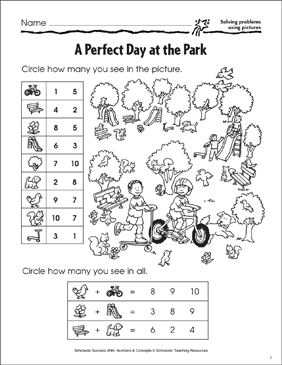 A Perfect Day at the Park (Solving Problems Using Pictures) - Printable Worksheet