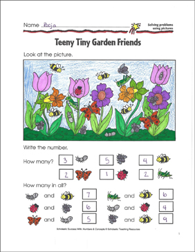 Teeny Tiny Garden Friends (Solving Problems Using Pictures) - Printable Worksheet