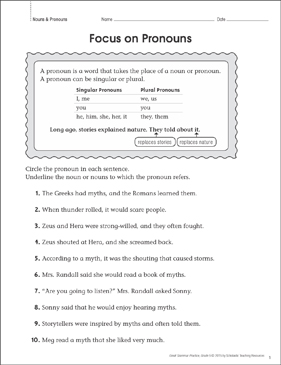 Focus on Pronouns: Grammar Practice Page - Printable Worksheet