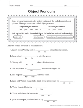 Object Pronouns: Grammar Practice Page - Printable Worksheet