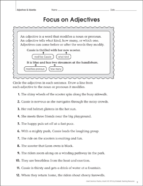 Focus on Adjectives: Grammar Practice Page - Printable Worksheet