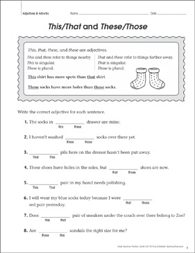 This/That and These/Those (Adjectives): Grammar Practice Page - Printable Worksheet