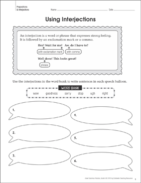 Using Interjections: Grammar Practice Page - Printable Worksheet