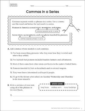 Commas in a Series (Punctuation): Grammar Practice Page - Printable Worksheet