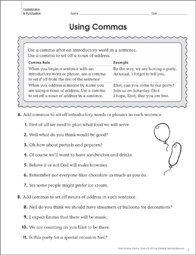 Using Commas (Punctuation): Grammar Practice Page - Printable Worksheet