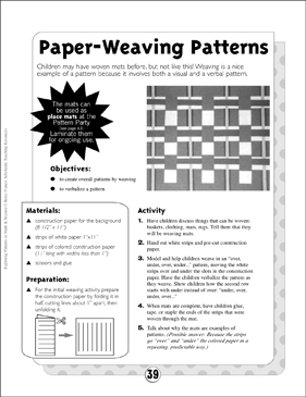 Art Patterns: Paper-Weaving Patterns - Printable Worksheet