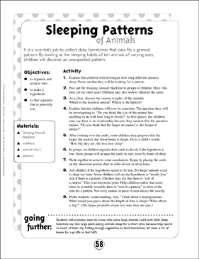 Science Patterns: Sleeping Patterns of Animals - Printable Worksheet