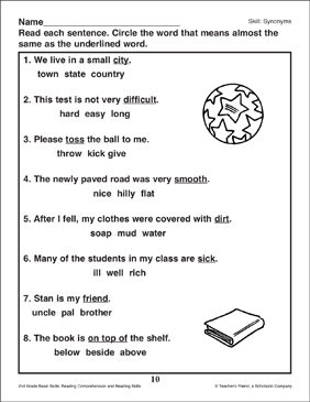Synonyms: Circle the Word - Printable Worksheet