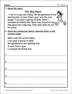 The Big Race: Sequencing Activity - Printable Worksheet