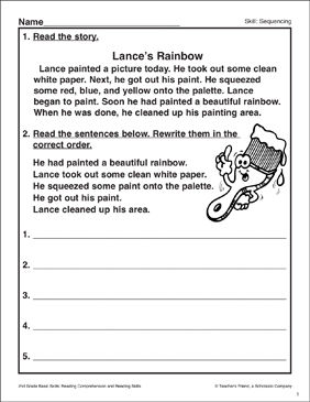 Lance's Rainbow: Sequencing Activity - Printable Worksheet