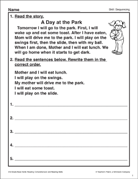 A Day in the Park: Sequencing Activity - Printable Worksheet