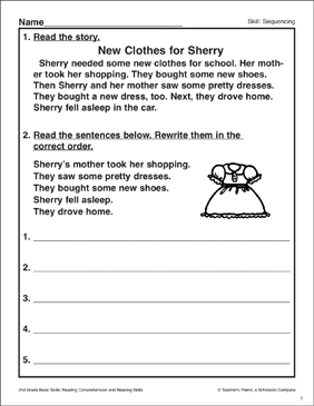 New Clothes for Sherry: Sequencing Activity - Printable Worksheet