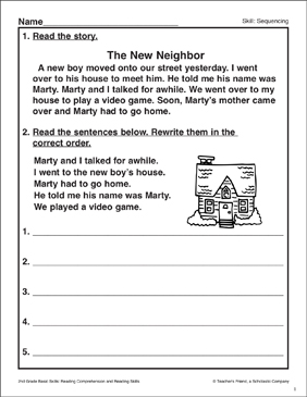 The New Neighbor: Sequencing Activity - Printable Worksheet