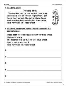 The Big Test: Sequencing Activity - Printable Worksheet