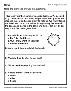 Our Family Went on Vacation: Passage and Questions - Printable Worksheet
